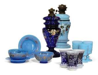 TWO BOHEMIAN GLASS CUT AND ENAMELLED HOOKAH BASES, A PAIR OF BOWLS AND SAUCERS AND SIX BEAKERS 19TH CENTURY  Price realised  GBP 1,125