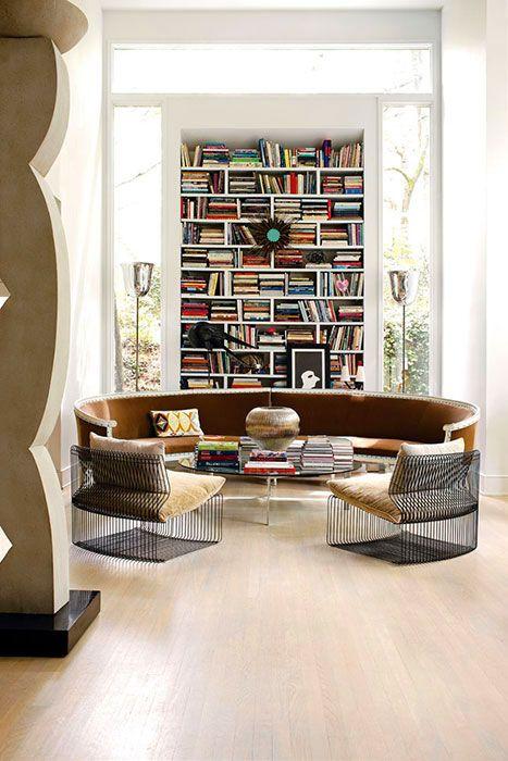 .Book Club, Bookshelves, Living Rooms, Home Libraries, Seats Area, Livingroom, Interiors Design, Bookcas, Atlanta Home