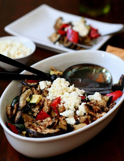 Healthy Grilled Vegetable Salad with olive oil and feta. Destined to become your favourite summer side dish!