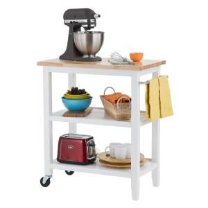 W Wood Kitchen Cart In White TBFLWH 1402 At The Home