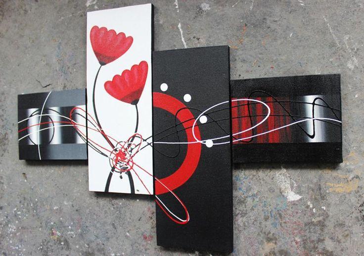 Lukisan Bunga Abstrak Merah ( RZL-Red )