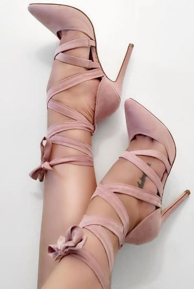 blush shoes with laces.