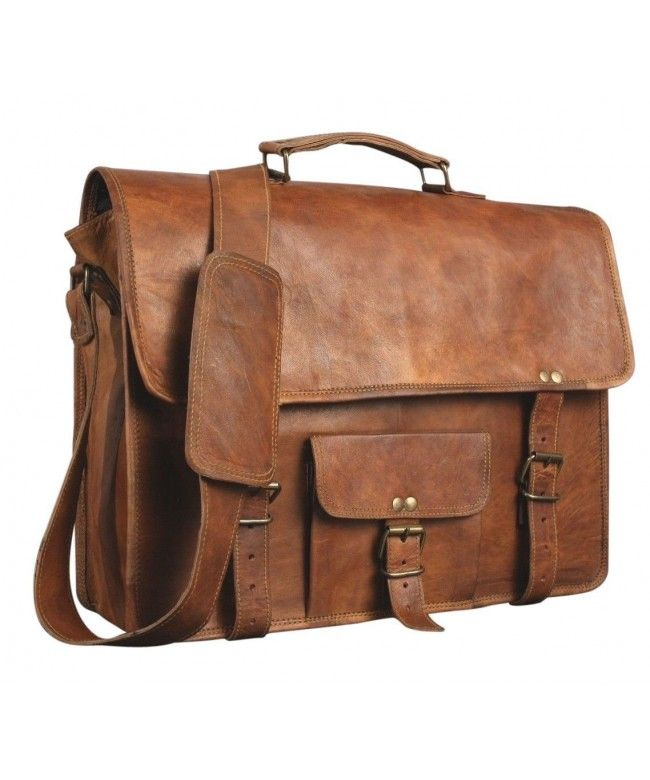 Messenger Laptop Bag Vintage Style rich Brown Handcrafted Soft Leather Satchel