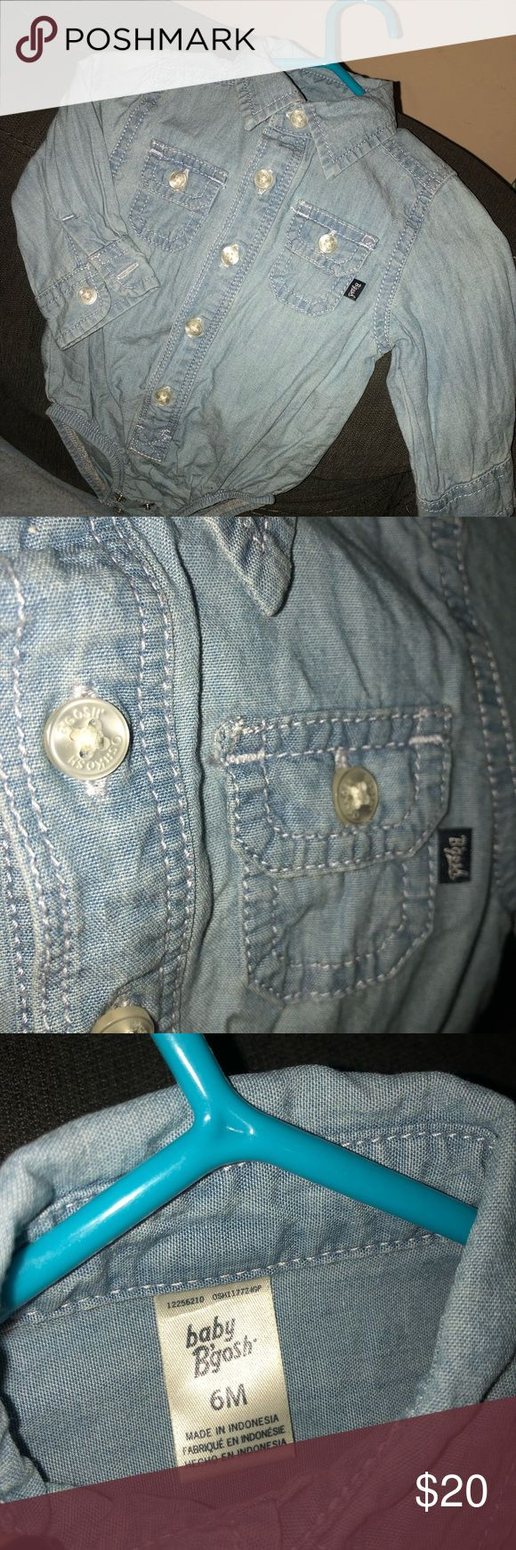 Baby Denim Body Suit Baby denim body suit Only worn once, like new 100% cotton GAP Shirts & Tops Button Down Shirts