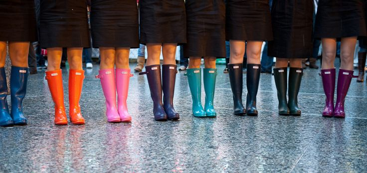 Rainbow coloured #Hunter wellies for #bridesmaids at this #wedding.