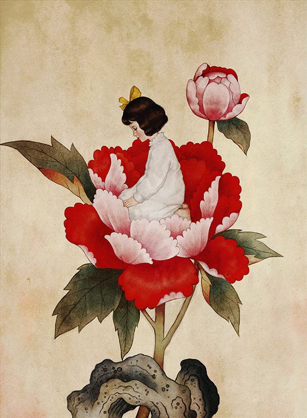 'Thumbelina' Illustrations Drawn In The Style Of South Korean Folk Paintings - DesignTAXI.com