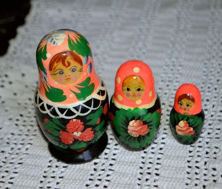 RUSSIAN DOLL SET of Three Folk Art Nesting Dolls Matryoshka with  Black Babushka Base Hand Painted Face and Flowers by StudioVintage on Etsy