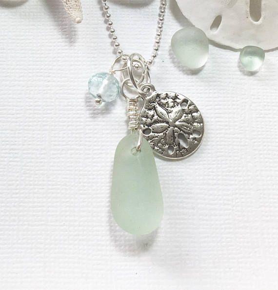 Sea Glass Jewelry Sand Dollar Necklace Sea Glass Genuine Beach