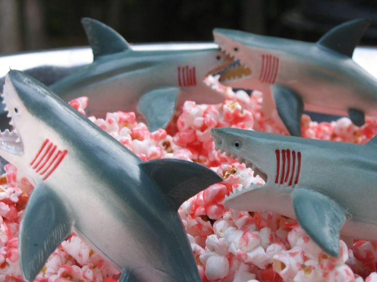 Homemade popcorn with red coloring / flavors. Recommended viewing: Shark Week, Jaws, Deep Blue Sea