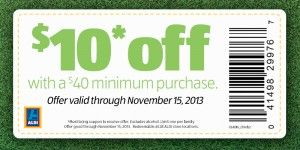 Aldi Coupon for $10 off $40 purchase!