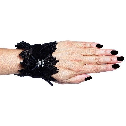 Fluwelen kanten manchetten pols armband met doodskop zwart - Victoriaans Gothic - One Size - Sinister