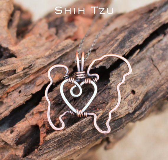 Shih Tzu ketting koperen hond hond van Karismabykarajewelry op Etsy