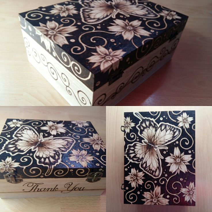 Wood box with butterfly & cherry blossom - 2016.06.23.