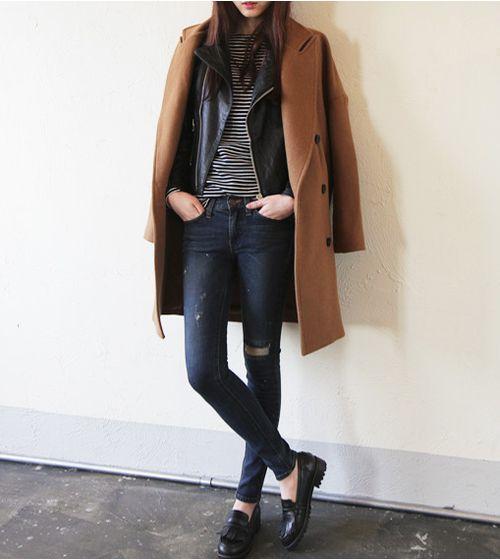 Casual : Perfecto, Marinière, Slim Jeans, Camel Coat & Shoes d'homme