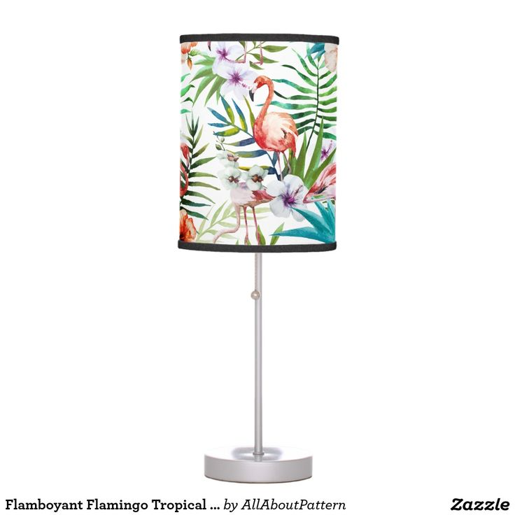 Flamboyant Flamingo Tropical nature garden pattern Desk Lamp