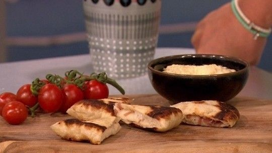 Home made flatbreads with caramelised onions and goats cheese