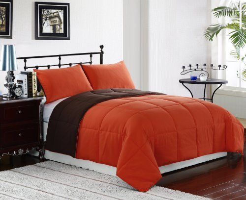 2 Piece Reversible Goose Down Alternative Comforter Set, with Anti-Microbial finish, Tangerine, Orange, Brown Bed Cover Twin Size Bedding by Cozy Beddings, http://www.amazon.com/dp/B009TF8M48/ref=cm_sw_r_pi_dp_CWSwrb0VW4JB3