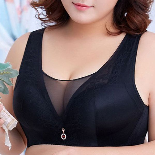 Wireless Tank Top Mesh Adjustable Overflowing Cozy Home Bras For Women