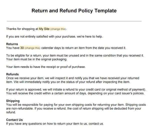 Return Policy Template 1 Policy Template Word Template Memo Template