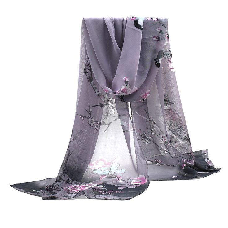 Soft Wear Womens Ladies Medium Long Chiffon Scarf Stole Scrawl Flower Printed Wrap Scarves (Grey)