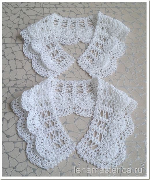 Lovely crochet lace collars, charts available on this page ~ Съемный ажурный воротничок, схема. lenamasterica.ru