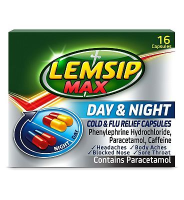 Lemsip Max Day and Night Cold and Flu Relief 12 Advantage card points. For cold and flu.See details below, always read the labelSuitable for: Adults and children of 16 years and over.Active Ingredients: Contains Paracetamol 500mg, Caffeine 25mg, http://www.MightGet.com/february-2017-1/lemsip-max-day-and-night-cold-and-flu-relief.asp