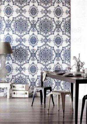 She employed a combination of Hindu, Islamic and Chinese designs and motifs and European elements, stylised and adapted to Western tastes..... Florence Broadhurst's Ink Blue-on-Flat White wallpaper.jpg