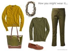 OLIVE: With 8 Bright Accents gold is hard to wear; my mustard scarf would work here...