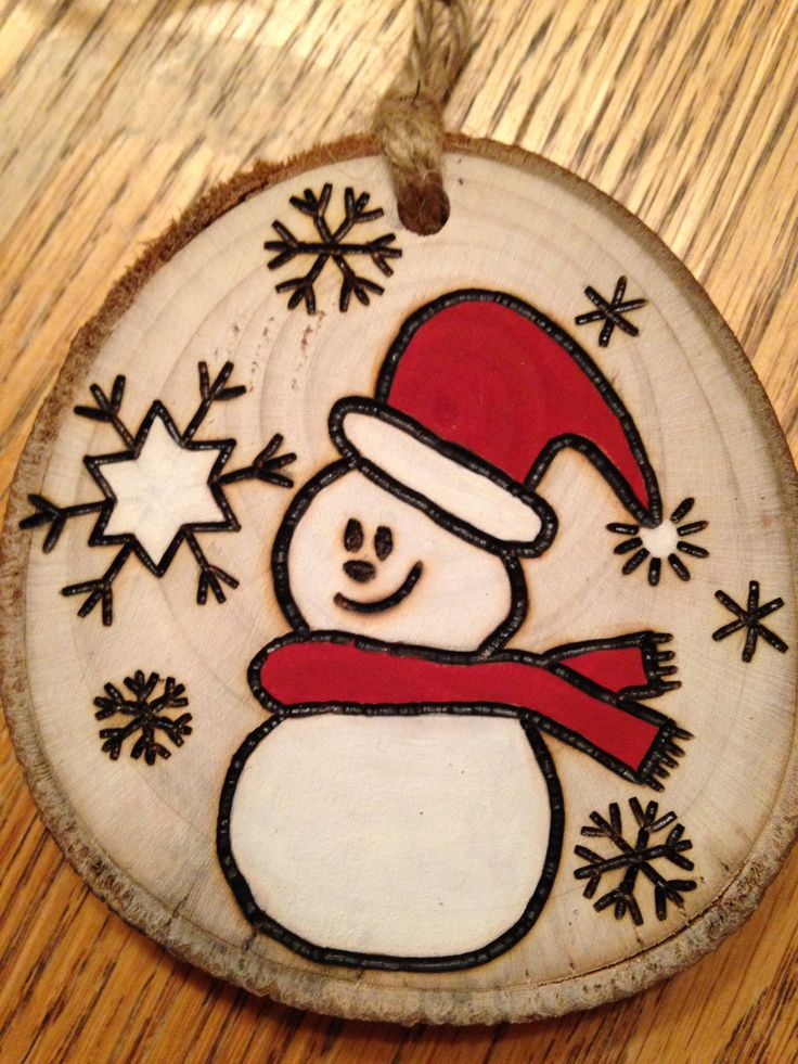 Rustic Snowman wood burned Christmas ornament - natural wood More
