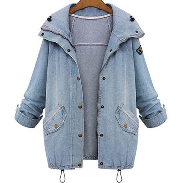 SheIn(sheinside) Hooded Drawstring Boyfriend Trends Jean Swish Pockets... ($37) ❤ liked on Polyvore featuring outerwear, coats, hooded coat, boyfriend coats, drawstring coat, blue coat and pocket coat