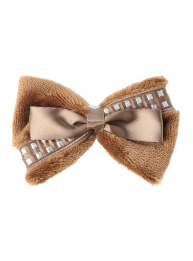 Star Wars hair clip with Chewbacca cosplay faux fur & ribbon bow design.