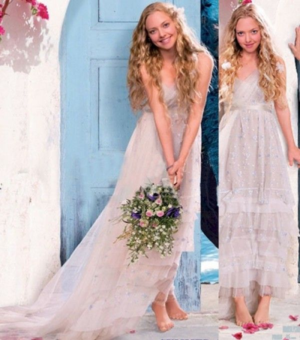 Sophie wearing a dress by costume designer Ann Roth for Mamma Mia. #Wedding