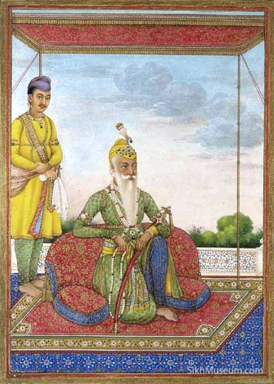 Maharaja Ranjit Singh, ca. 1830, Gouache heightened on gold with paper. To learn more see the SikhMuseum.com Exhibit - The Maharaja in the Guru's Darbar