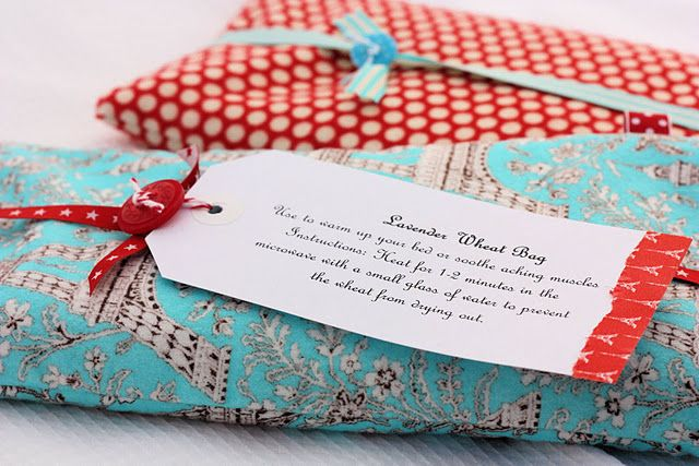 Another take on the heatable rice bag idea, only this one with wheat.  I like this one because it has the instructions that you can type out and place on a gift tag with it.  Also love the Eiffel Tower Fabric!