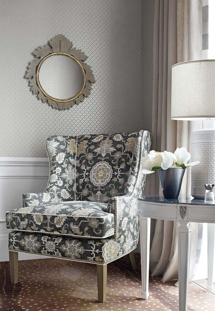 Thibaut Fine Furniture, Market Square, 260; Mahal Black and Grey  #designonhpmkt #Thibaut_1886