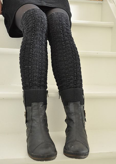 knitted over-the-knee tights with low boots