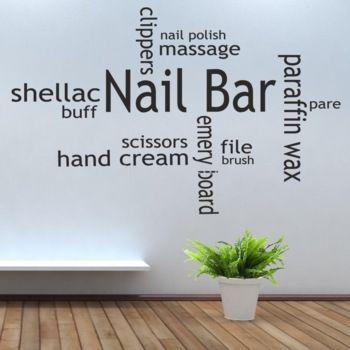 art decals for hair salon   Hot Nail Bar Collage Hair Beauty Salon Wall Art Stickers Decal DIY ...