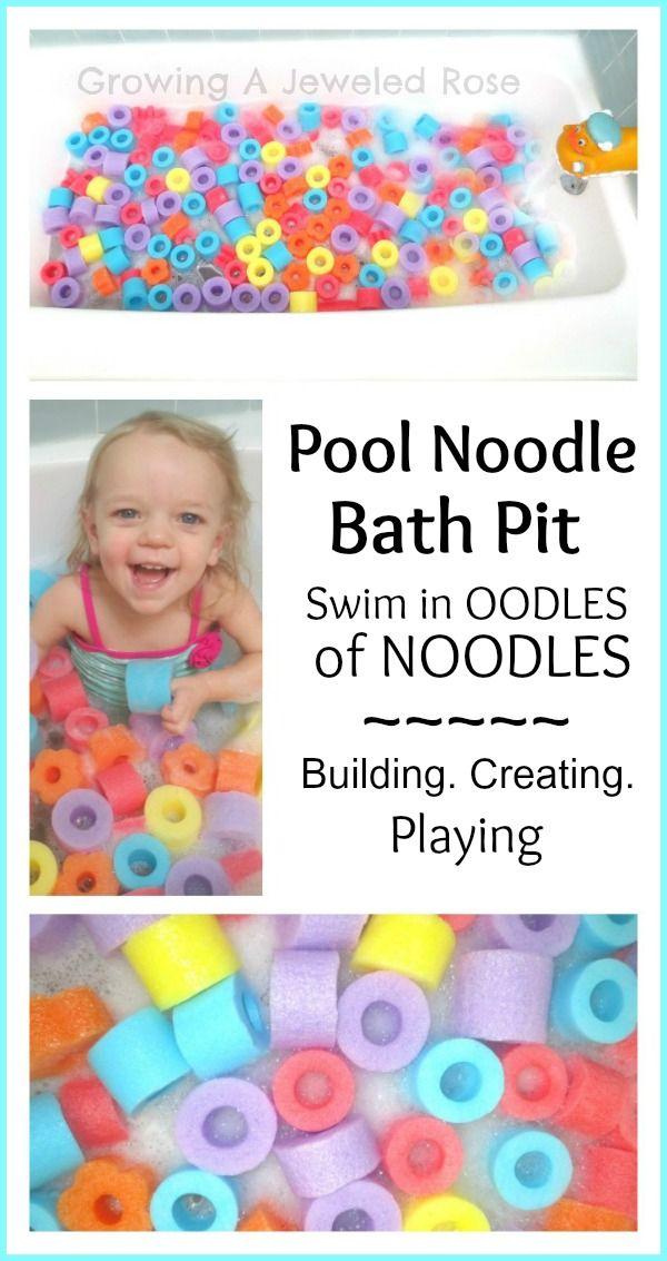 pool noodle bath time!