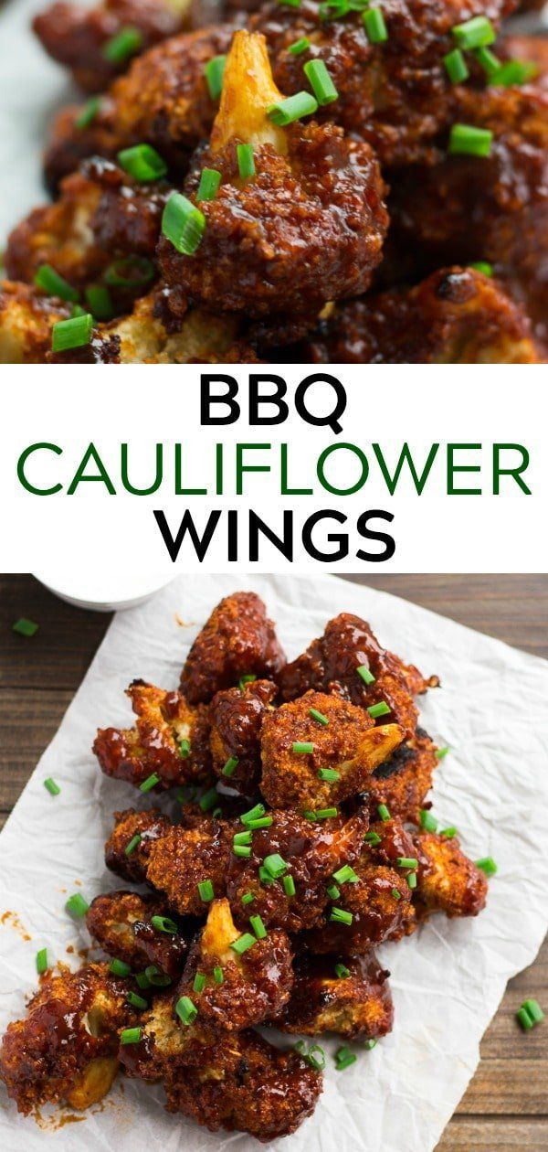 These meatless BBQ Cauliflower Wings are perfect for Game Day! #vegan #plantbase…