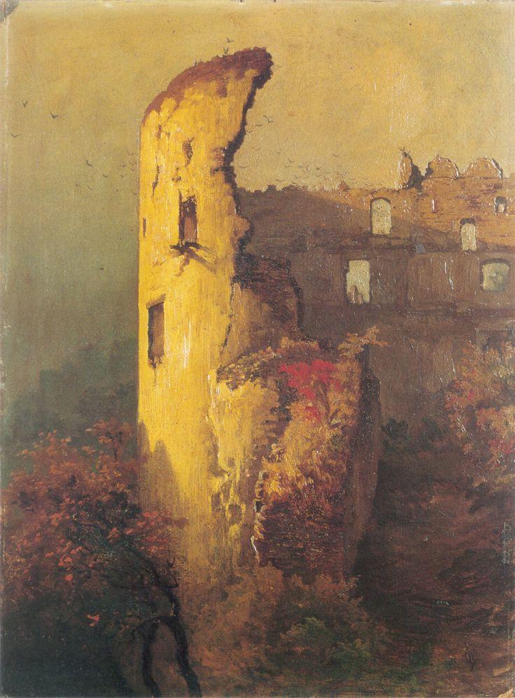 Ruins of castle tower in Ojców, 1850, Wojciech Gerson