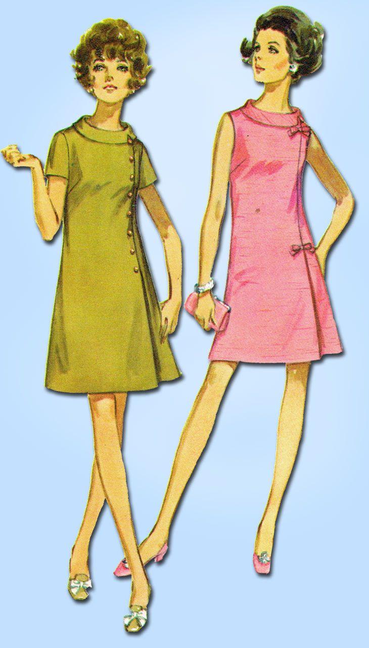 1960s Vintage Simplicity Sewing Pattern 8159 Uncut Plus Size Dress Easy 45 Bust