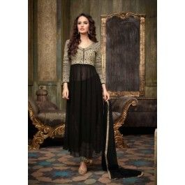 Black and Gold Embroidered Pant Anarkali