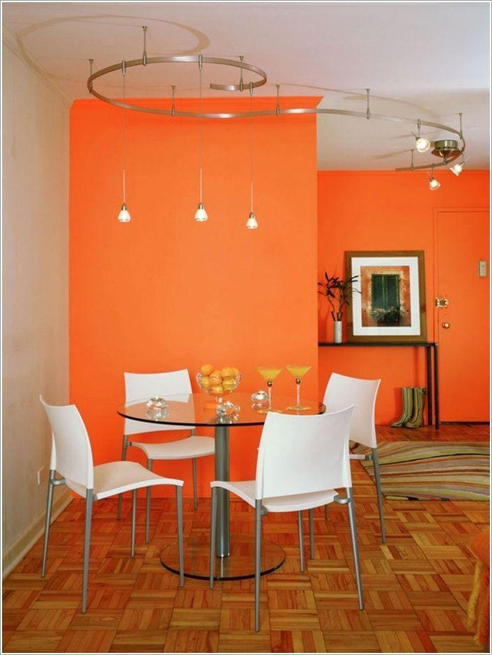 A Bright Orange Modern Dining Room