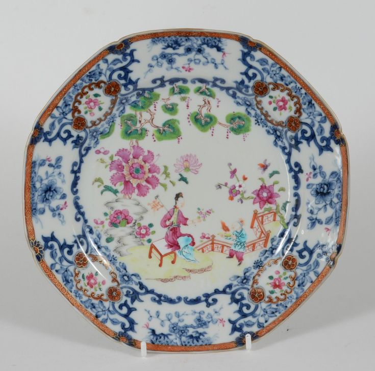 18C Qianlong Chinese Export Porcelain Octagon Plate Lady & Servant in Garden | eBay