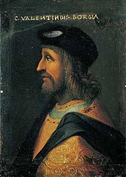 """Предполаг.порт.Чезаре Борджиа из коллекц.палаццо Русполи, Рим,12.05.1499г.Чезаре женился на Шарлотте д`Альбре,доч.Алена д'Альбрэ,герцога Гийенского, после чего отправил Александру VI хвастл.письмо,будто бы в брач.ночь""""совершил 8мь путешествий"""".Через 4 мес.он отправ.воевать в Италию и больше никогда не видел жену."""