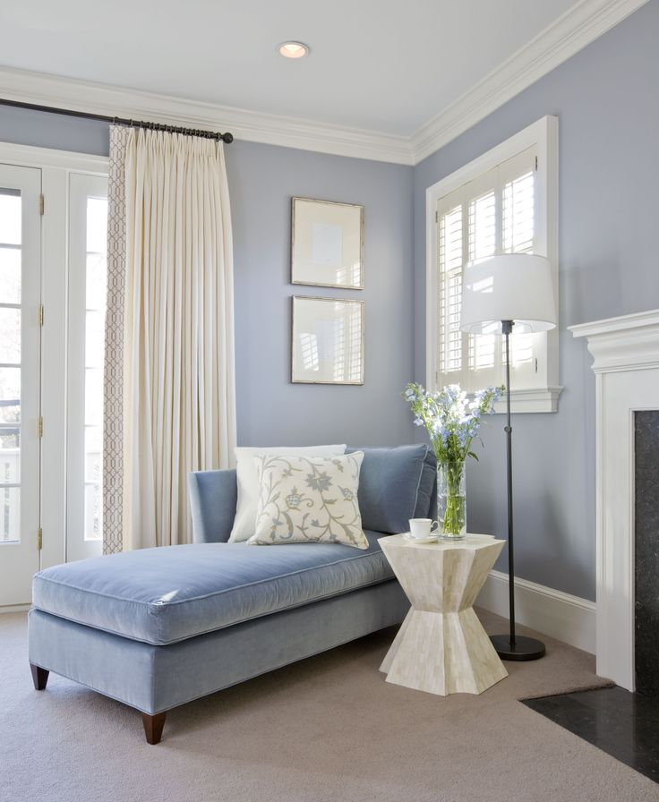 A Chaise In French Blue Velvet Occupies A Corner Of The Bedroom. Designed  By Kristin Peak Interiors, LLC.