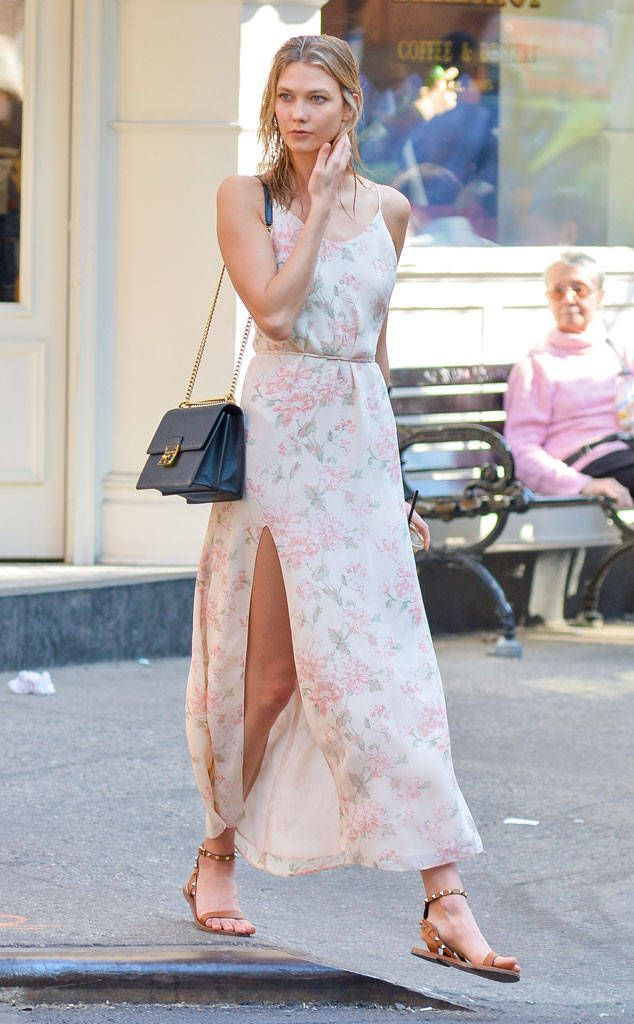 To the Maxi from Celebrity Street Style  Karlie Kloss is breathtaking as always in a breezy Reformation maxi dress.