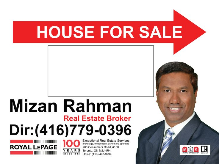 Real Estate Coroplast Signs; Mizan Rahman Real Estate Broker directional sign; HOUSE FOR SALE Real Estate coroplast signs; see our price list for real estate coroplast signs: https://www.lawnbagsigns.com/coroplast-signs-full-colour.php