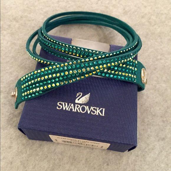 Swarovski Slake Bracelet- Dark Green Authentic Swarovski Bracelet- Only worn once! Vibrant color and sparkle adds nice pop to an outfit. Adjustable size. Comes with box. Swarovski Jewelry Bracelets