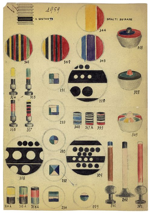 ettore sottsass, designs for enamels, 1958